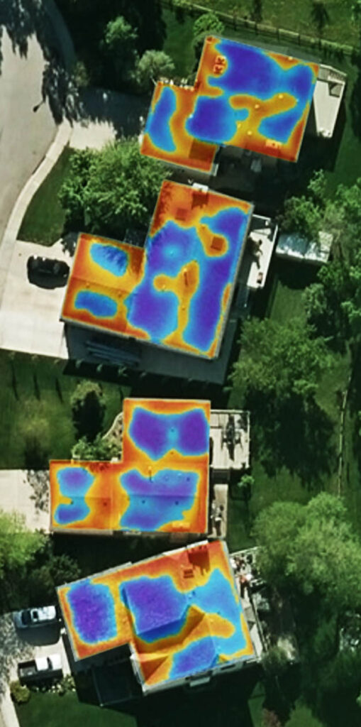 Rooftop waste heat mapped from red-hot, to blue-cool.